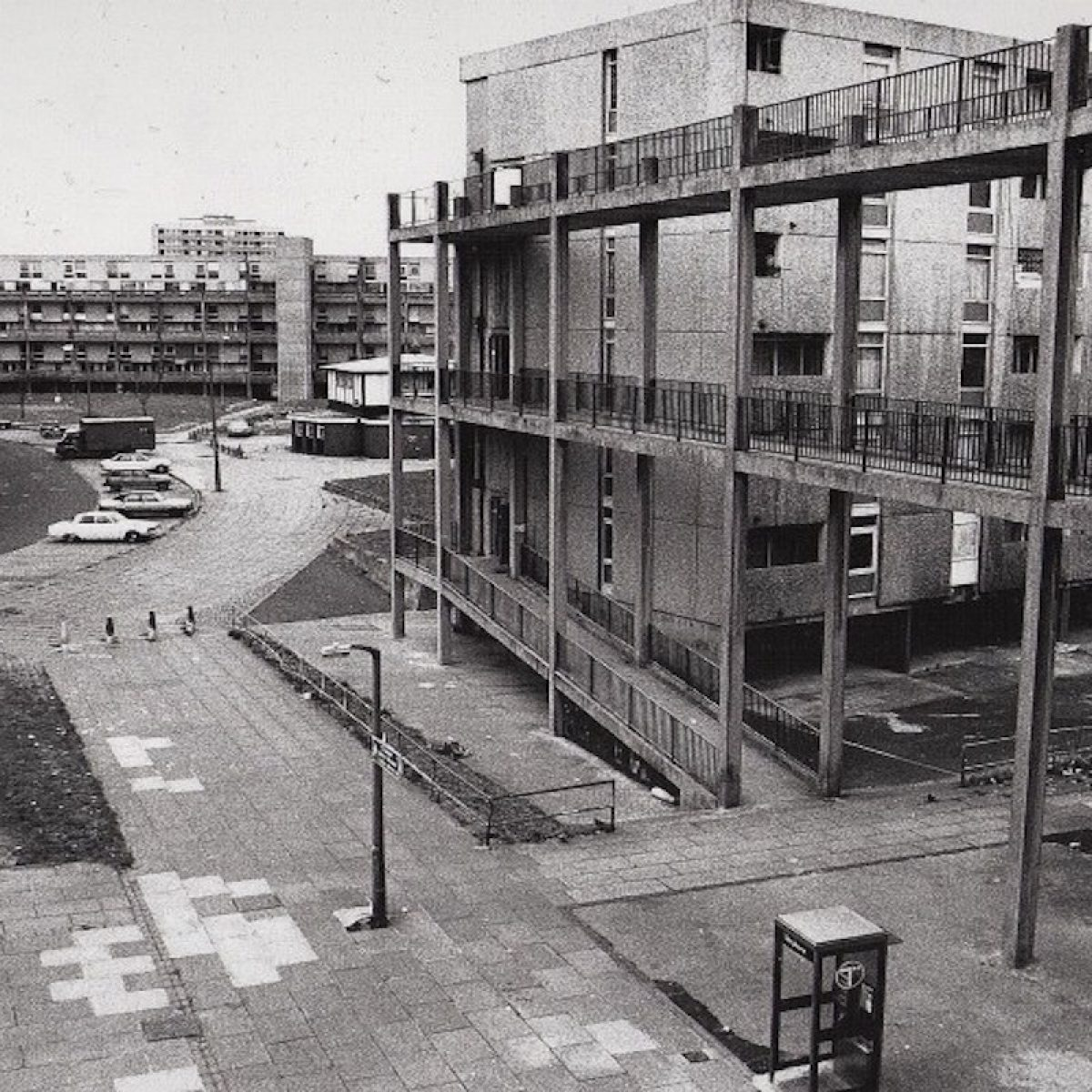 Photo of Charles Barry Crescent, Hulme, 1990.